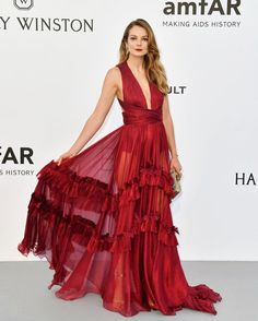 Eniko Mihalik in a gown by Maria Lucia Hohan at the 2017 AMFAR gala