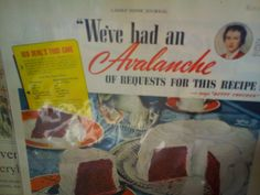 From a 1939 Ladies Home Journal, this is a recipe for Red Devil's Food Cake which is a look like red velvet.