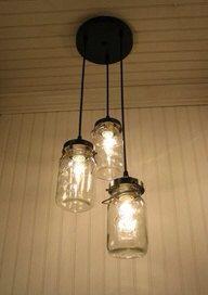 Three Light Mason Jar Pendant