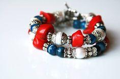 "Набор браслетов ""Морской бриз"" Материалы: коралл, жемчуг, агат и бижутерный сплав #handmade #bracelets #bijou #agate #coral #pearls"
