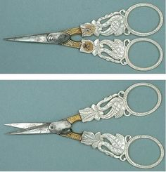 Antique Palais Royal Mother of Pearl Swan Scissors w Pansies Circa 1810 Vintage Scissors, Sewing Scissors, Embroidery Scissors, Sewing Box, Love Sewing, Sewing Spaces, Sewing Rooms, Vintage Sewing Notions, Antique Sewing Machines