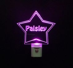 """Kids Personalized Custom Star Shaped LED Night Light - Unique LED Products ♦3D #Engraved 3/8"""" Clear #Acrylic ♦day/night light sensor ♦ multi-colored led lights"""