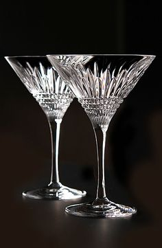 Waterford Lismore Diamond Martini Glasses pair.  ** save to remember what these look like