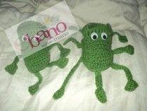Escarpín tejido con forma de pulpito color verde (Knit octopus shaped baby booties, color green)