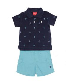 Another great find on #zulily! Navy Anchor Polo & Aqua Shorts - Infant by IZOD #zulilyfinds