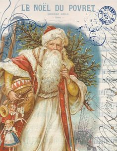 Free Christmas Cards: Victorian Santa Claus · All Things Christmas Vintage Christmas Images, Old Fashioned Christmas, Christmas Past, Victorian Christmas, Father Christmas, Vintage Holiday, Christmas Pictures, Christmas Greetings, Christmas Postcards