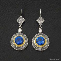 BLUE SAPPHIRE CZ BYZANTINE 925 STERLING SILVER & 22K GOLD PLATED GREEK EARRINGS #IreneGreekJewelry #DropDangle