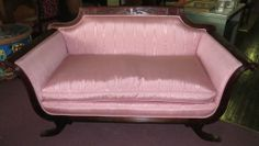 Antique Victorian Sofa Couch Ornate Love-seat,Mahogany,Brass Lions Paw Claw Feet