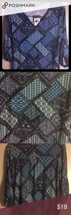 New 89th & Madison Blue Patterned Small Shirt Brand New - MSRP $48 89th & Madison Tops Blouses