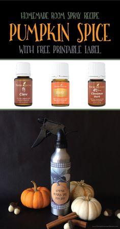 Simple Homemade Pumpkin Spice Room Spray Recipe with FREE Printable Label by Pamela Smerker Designs