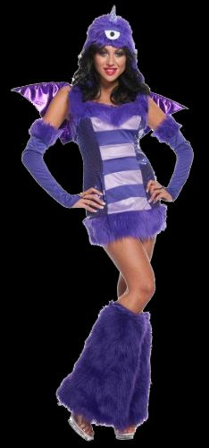 You can do plenty of fun things in this exclusive Sexy One Eyed One Horn Flying Purple People Eater Costume, like hide under the bed or inside the closet.