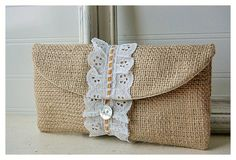 Personalize Bridesmaid burlap clutch purse lace Raffia ruffles wedding rustic shabby purse party gift MakeUp on Etsy, $19.00