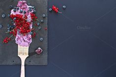 Fruit painting. Copy space, top view by kawizen  on @creativemarket  #berries #yogurt #violet #purple #painting #foodart #brush #tray #slatetray #servingtray #currants #blackberries #currant #redcurrant #topview #summer #season	#seasonal #fruits #flavor #red #explosion	#art #artistic #kitchentray #icecube	#frozencherry #frozen #icy #frosty #copyspace