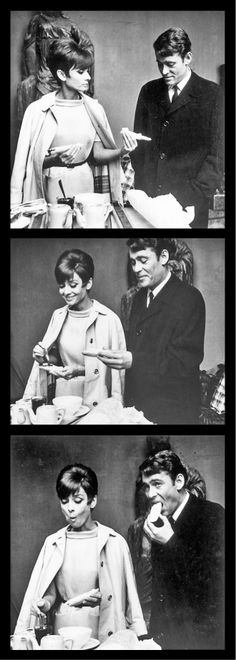 Oh dear, this is so cute... nom nom nom ^_^... Audrey Hepburn & Peter O'Toole at the set of How to Steal a Million (1966)