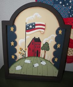 Lisa, one of our buyers, painted this adorable Renee Mullins design. Americana Paint, Wood Crafts, Diy Crafts, Country Paintings, Animal Books, Country Crafts, Happy 4 Of July, Tole Painting, Paint Designs