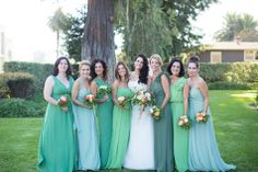 Green mismatched bridesmaid looks   Annie McElwain Photography