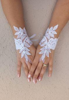 white lace glove  Wedding gloves free ship by WEDDINGHome on Etsy, $30.00