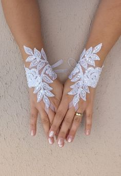 white lace glove  Wedding gloves free ship by WEDDINGHome on Etsy, $30.00