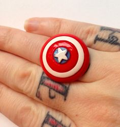 Captain America Ring Shield Avengers Hero Geek