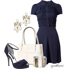 """Navy Bows"" by cynthia335 on Polyvore"