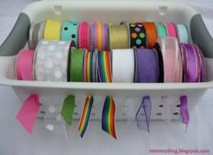 150 Dollar Store Organizing Ideas and Projects for the Entire Home -- oooh. Use one of those dollar store baskets with holes in it, and a wooden dowel for ribbon storage that lets you pull the ribbon through the holes. Ribbon Organization, Ribbon Storage, Craft Organization, Diy Storage, Storage Baskets, Storage Ideas, Plastic Storage, Plastic Baskets, Storage Place