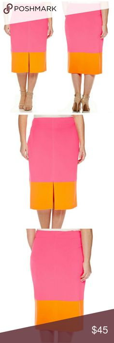 Brand NWT plus Orange n pink pencil  skirt Gorg brand new never worn with all original tags still attached orange and pink skirt full description in full pic Worthington Skirts