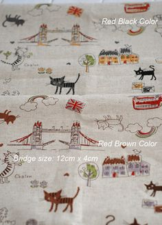 $7.60 Kids Cute Fabric Children's Drawing Cotton Linen Fabric Cat Travel Round The World  - Fabric by yard 1/2 Yard