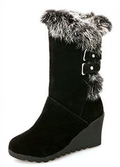 27d6d3220ecc IDIFU Womens Comfy Buckled Faux Fur Lined Wedge Mid Calf Snow Boots Winter  Booties Medium Heels Black 65 BM US   You can find more details by visiting  the ...