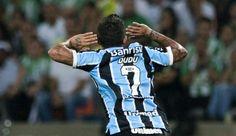 Dudu comemora, Nacional-COL x Grêmio (Foto: AFP)