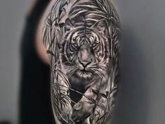 tigerkopf tattoo, mann, oberarm tätowieren, aberarmtattoo