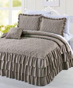 Ruffle Matte Satin 4 Piece Bedspread Set. Light Blue $80.00