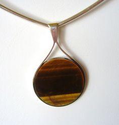 Scandinavian Silver: vintage designer silver and modernist jewelry - W Sterling tiger eye pendant