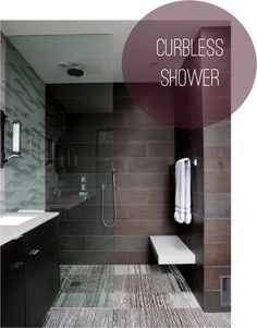 Beautifully designed curbless shower.