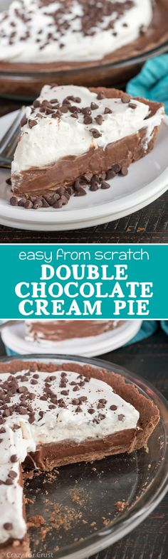 Double Chocolate Cream Pie - this easy pie recipe is completely from scratch! I could not stop eating this!! It's a chocolate cream pie with a chocolate crust!