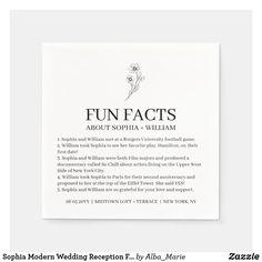 Sophia Modern Wedding Reception Fun Facts Cocktail Napkins