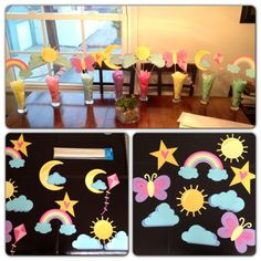 DIY baby shower table centerpieces. Rainbows sun sunshine clouds kites butterflies moon.  Dollar tree beer steins and circut cut outs. Over the rainbow. Up in the clouds.