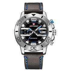 Ανδρικό ρολόι LONGBO BLUE με δερμάτινο λουρί