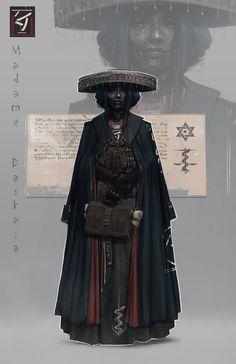 Alchemist Healer Madame Daskala, Nico Kaeber on Ar… Fantasy Character Design, Character Design Inspiration, Character Concept, Character Art, Concept Art, Dnd Characters, Fantasy Characters, Female Characters, Samurai