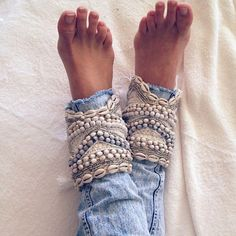 Shell, sequin & beads. Cute boho ankle cuffs.