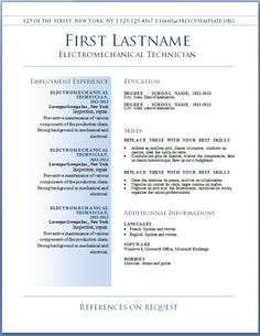 free template for resume download
