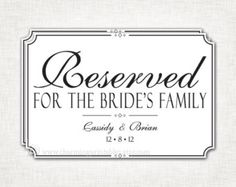 Reserved Signs For Wedding Or Party Set Of By Freshlovecreations 4 50 Reception Ideas Pinterest Table And Weddings