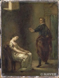 햄릿과 오펠리아, 들라크루아, 18세기경, 낭만주의  이제 성경이나 신화가 아닌 다른것도 주제로 그려짐!