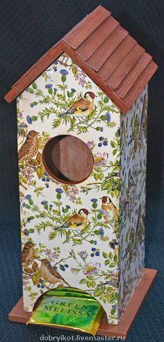 Bird house for tea bags. Also decoupage technique