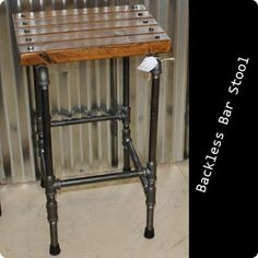 Black Steel Pipe Backless Bar Stool - $115. #industrialchic #NDustrialDesign #mancave #steampunk #urban