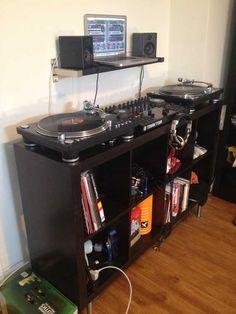 - DJ Setup with Record Storage. Dj Dj Dj, Dj Table, Dj Sound, Dj Setup, Music Studio Room, Recording Studio Home, Dj Gear, Audio Room, Dj Booth