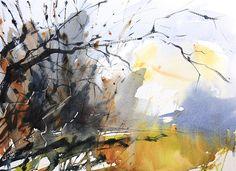 January Trees, Gatley Hill. Watercolour by Adrian Homersham http://adrianhomersham.co.uk/