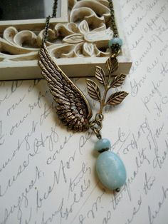Angel wing necklace amazonite blue beads