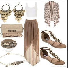 Beige maxi skirt and crop top