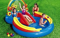 Kids Backyard Intex Rainbow Ring Inflatable Play Center 100 X 77 X 31 Water Slide Inflatable Fun Play Center Summer Outdoor Pool Fun Swimming *** You can get additional details at the image link.Note:It is affiliate link to Amazon. #2018