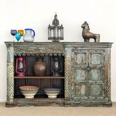 An fantastic rustic sideboard/bookshelf made from reclaimed teak with old hand carved panels. Rustic Sideboard, Sideboard Furniture, Rotorua New Zealand, Old Hands, Jodhpur, Light Decorations, Teak, Hand Carved, New Homes